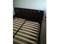 King Size Brown Leather Look Bed