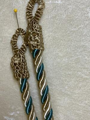 1 Pair Conso Curtain Tiebacks Window 3 Color Twisted Rope 26 Gold Bronze Teal - $7.99