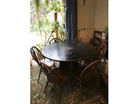 Antique drop leaf table & 6 x Ercol chairs