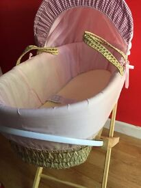 Moses basket & stand £15