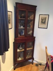 bargain, reduced 1800's antique display cabinet, mahogany great quality