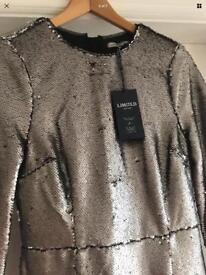 NEW silver dress - size 8 Marks & spencer
