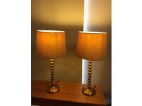 Beautiful pair of tall M & S metal lamps, need new shades ideally, great quality