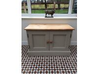 Solid pine TV unit/ toy cupboard / side unit painted with stripped pine top