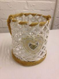 White basket candle holder