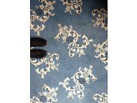 Vintage retro blue patterned carpet