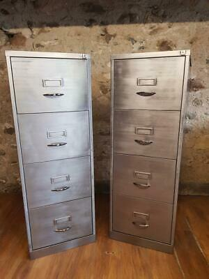 VINTAGE INDUSTRIAL STRIPPED METAL 4 DRAWER FILING CABINETS X2