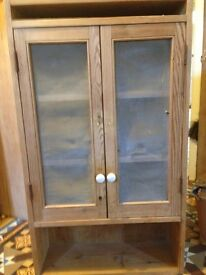 Old Pine Kitchen Wall Unit with Wire Mesh Doors.