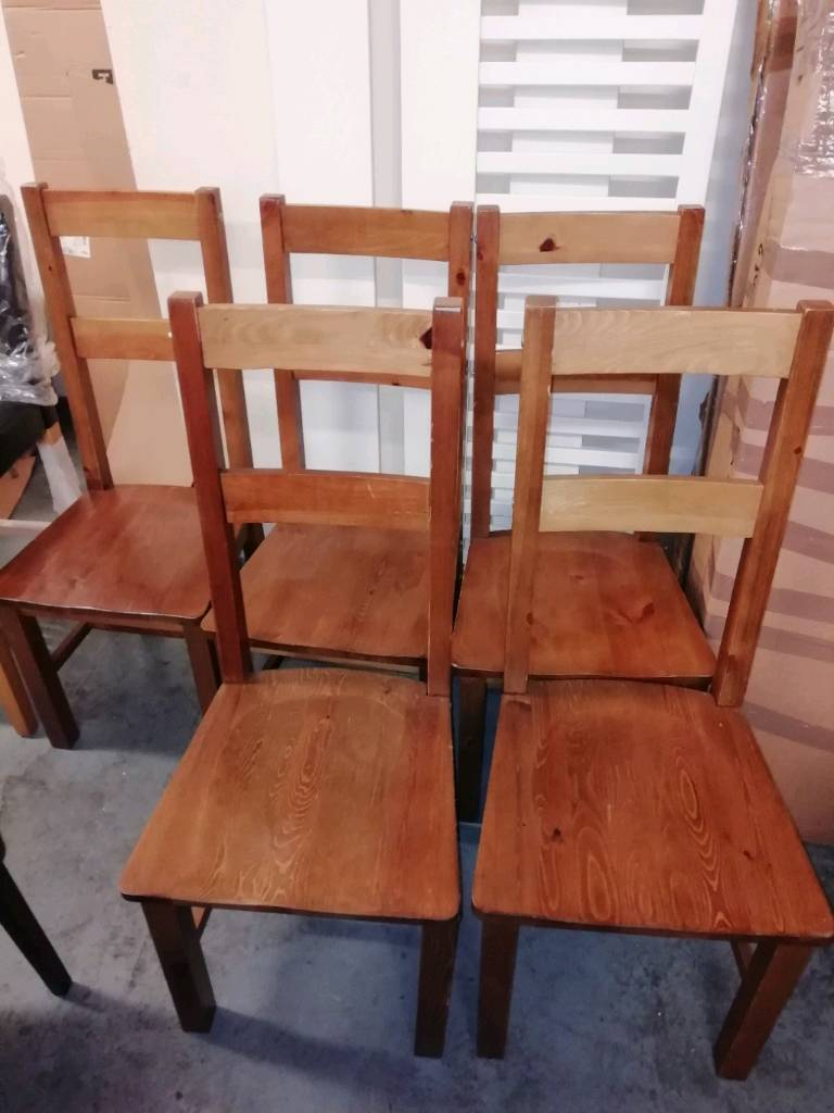 Ex display assembled wooden chairs £25 each wooden table £50