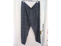 Ladies navy and white flowers trousers size 30