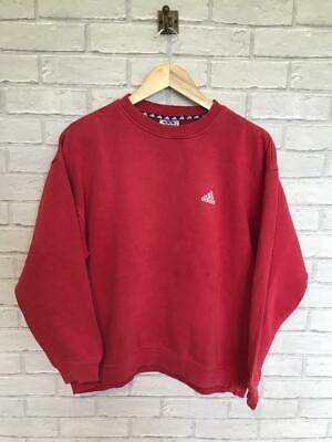 Mens Vintage ADIDAS Red Small Logo Sweatshirt Large #E3629