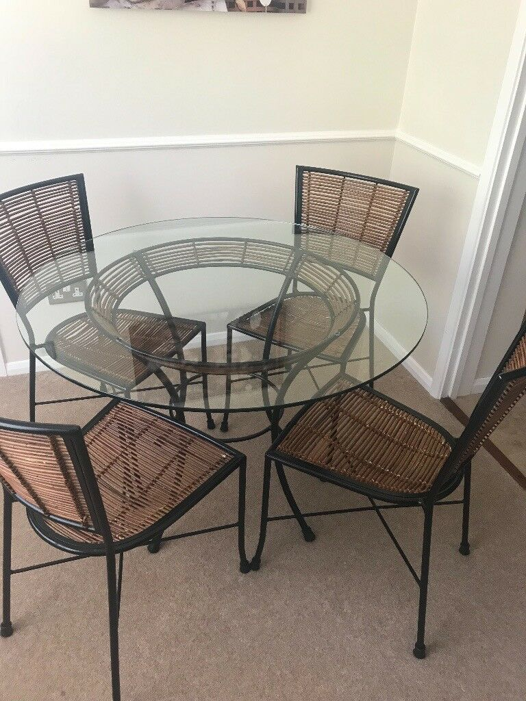 fantastic john lewis glass dining table and chairs  in