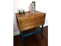 Vintage Blue Oak Drop Leaf Drinks Trolley / Tea Table Serving Trolley