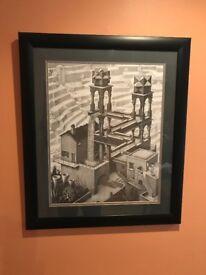 Escher 'Waterfall' Print in black frame / mount