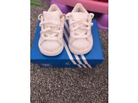 Adidas superstar size uk 4 infant white and pink