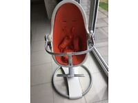 Bloom fresco highchair come with large and small tray and two newborn inserts white and orange