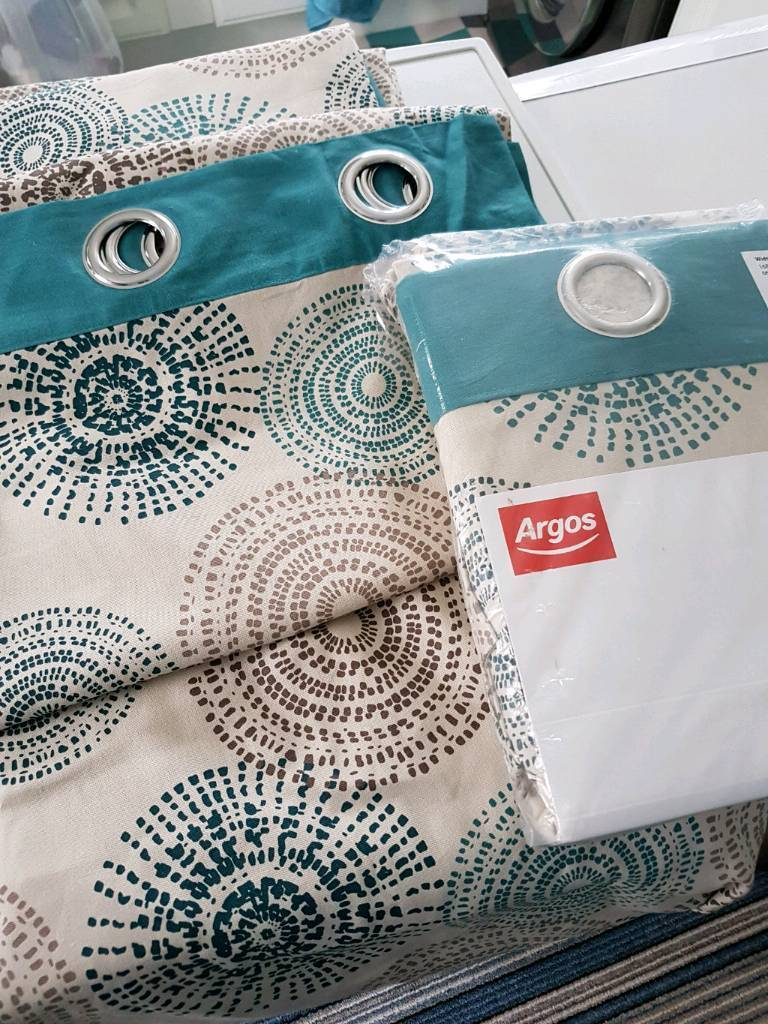 2 Pairs Of Argos Curtains Teal Swirl Effect | in Edwinstowe ...
