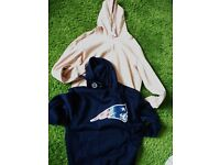 2 x Mens Size LArge Hoodies, both new and tagged. Navy, Baby Pink, Puma, New England Patriots