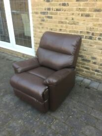 brown leather reclining chair