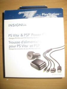 Insignia Power Pack for Playstation PS Vita and PSP. AC Adapter with Car Charger. Fast Charger for Phone and Game System