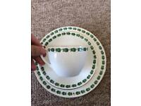 Vintage green tea cups, saucers and sandwich plates