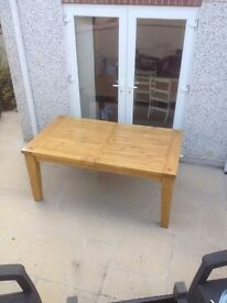 Large Extending, oak stained solid pine table, fully stripped and stained with an oak finish
