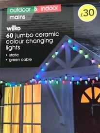 60 large decorative ceramic candle led garden/party/outdoor lights NEW BOXED