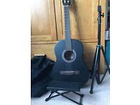 3/4 size black guitar