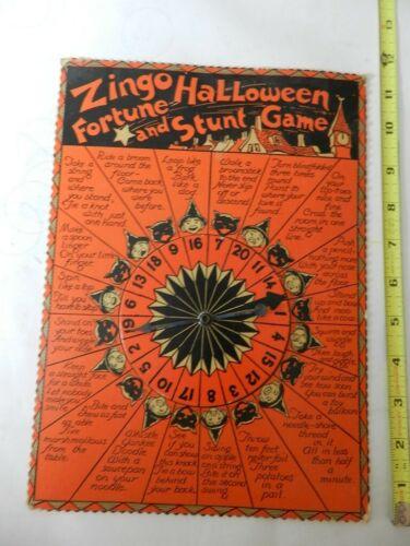 VINTAGE HALLOWEEN- ZINGO HALLOWEEN FORTUNE & STUNT GAME- 1935- BLACK CAT-WITCH