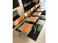 Set of 12 iconic Lammhults Campus beech and chrome stacking chairs for home or office