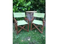 Kids directors garden chairs x2