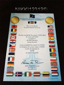 NATO ISAF AFGHANISTAN MEDAL CERTIFICATE IN MINT CONDITION