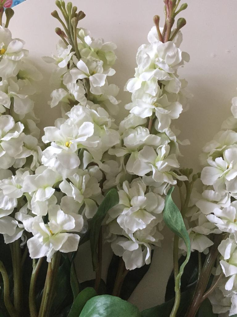 7 Stalks Of Stock Flowers Artificial White In Bordesley Green West