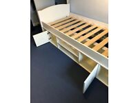 Stompa Single Cabin Bed with Underbed Storage and Shelf in White