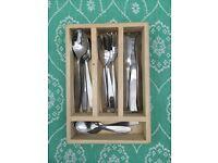Children's tea set metal cutlery toy.kitchen role play. Wooden box storage. Utensils. Tea party