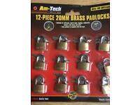 12 20mm Brass Padlocks