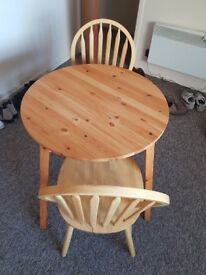 Solid wood table and 2 chairs