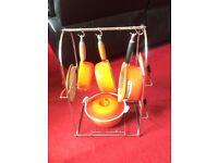 Lr Creuset Pan set and Rack, 20cm casserole, 20cm, 18cm, 16cm saucepans - Colour: Volcanic (Orange)