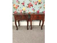Solid wood bedside tables pair hardwood French Louis style single drawer Queen Anne legs
