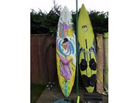 Windsurfing set up Fanatic and Mistral boards plus gear