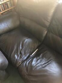 Old leather recliner
