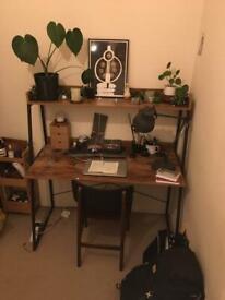 2-Tier industrial style teak coloured desk