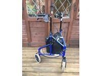 Wheeled tripod walking aid.