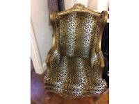 Two Leopard print chairs