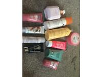 Selection of new unused body lotions