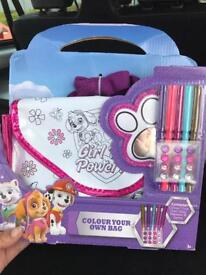 Paw patrol colour your own bag new