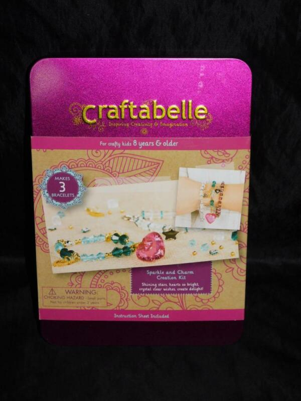 Craftabelle Sparkle and Charm Bracelet Craft Jewelry Kit NEW Beads Heart Girls