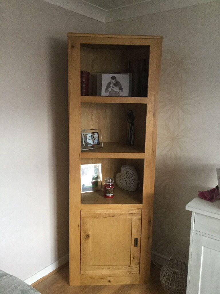 Next Hudson Solid Oak Wood Corner Unit Bookcase