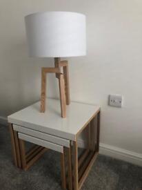 Habitat Ash Wood Table Lamp With White Fabric Shade
