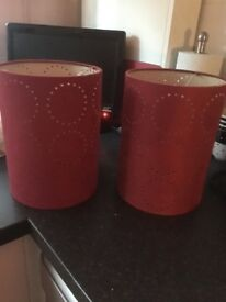 Two Matching Red Lamp Shades